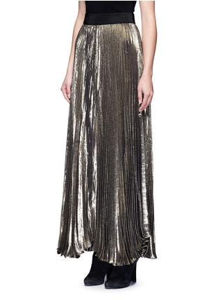 Front View - Click To Enlarge - alice + olivia - 'Katz' metallic plissé pleat maxi skirt