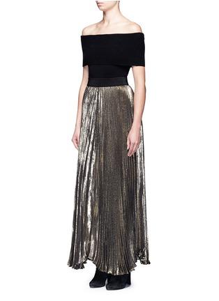 Figure View - Click To Enlarge - alice + olivia - 'Katz' metallic plissé pleat maxi skirt