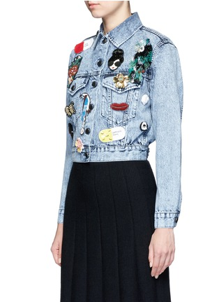 Front View - Click To Enlarge - alice + olivia - 'Chloe' patch embellished cropped denim jacket