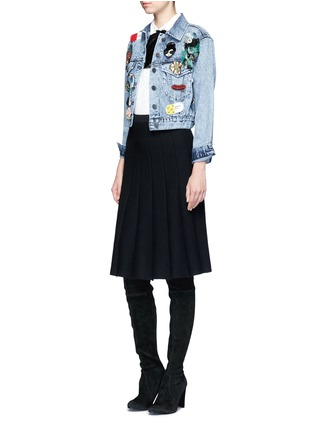Figure View - Click To Enlarge - alice + olivia - 'Chloe' patch embellished cropped denim jacket