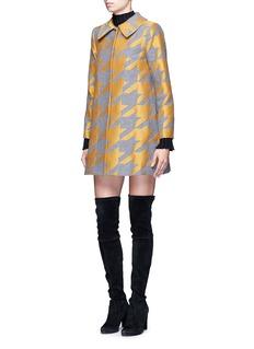 alice + olivia'Kinsley' houndstooth satin patchwork coat