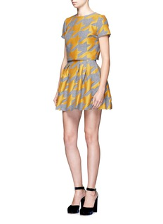 alice + olivia'Connor' lampshade houndstooth patchwork skirt