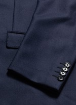 Slim fit contrast leather collar wool coat