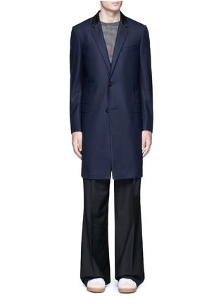 Main View - Click To Enlarge - Lanvin - Slim fit contrast leather collar wool coat