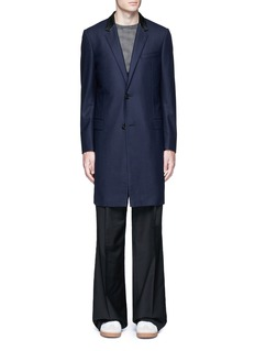 Lanvin Slim fit contrast leather collar wool coat