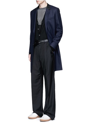 Figure View - Click To Enlarge - Lanvin - Slim fit contrast leather collar wool coat
