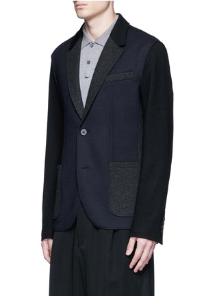 Front View - Click To Enlarge - Lanvin - Deconstructed colourblock jersey soft blazer
