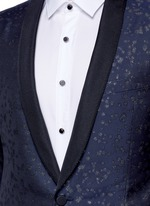 Slim fit metallic jacquard tuxedo blazer
