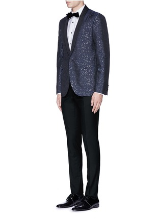 Figure View - Click To Enlarge - Lanvin - Slim fit metallic jacquard tuxedo blazer