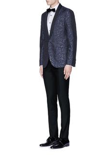 LanvinSlim fit metallic jacquard tuxedo blazer