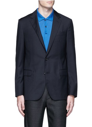 Main View - Click To Enlarge - Lanvin - Slim fit collar trim wool blazer
