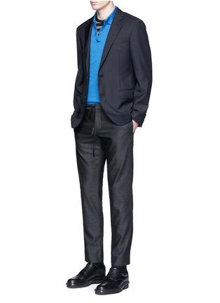 Lanvin-Slim fit collar trim wool blazer
