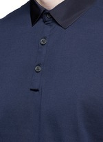 Slim fit grosgrain collar polo shirt