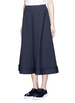 Front View - Click To Enlarge - DELPOZO - Cotton blend wide leg culottes