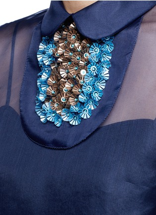 Detail View - Click To Enlarge - DELPOZO - Detachable 3D floral collar bib organza top