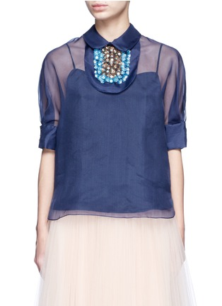 Main View - Click To Enlarge - DELPOZO - Detachable 3D floral collar bib organza top