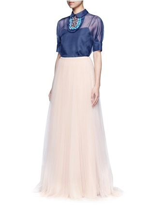 Figure View - Click To Enlarge - DELPOZO - Detachable 3D floral collar bib organza top