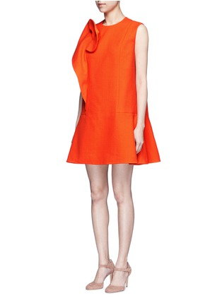 Front View - Click To Enlarge - DELPOZO - Floral pin fold textured dress