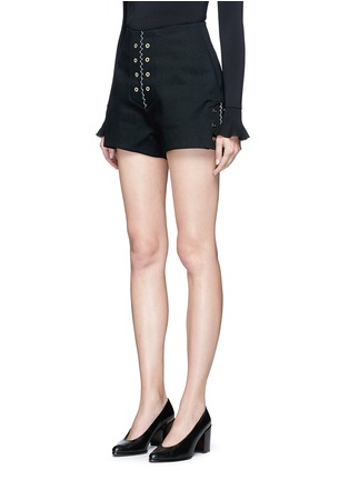 Front View - Click To Enlarge - Ellery - 'Reinking' grommet cotton drill hot pants