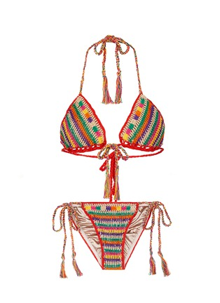 Main View - Click To Enlarge - Anna Kosturova - 'Ring' stripe crochet triangle bikini set