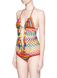 ANNA KOSTUROVA'Aztec' seashell stripe crochet monokini swimsuit