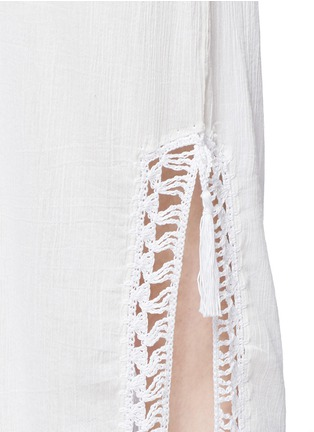 Detail View - Click To Enlarge - Anna Kosturova - 'Helena' crochet trim crinkle cotton maxi dress