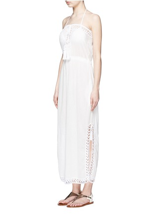 Front View - Click To Enlarge - Anna Kosturova - 'Helena' crochet trim crinkle cotton maxi dress