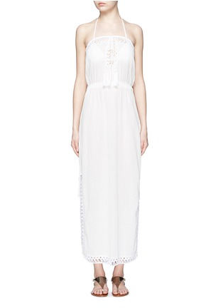 Main View - Click To Enlarge - Anna Kosturova - 'Helena' crochet trim crinkle cotton maxi dress