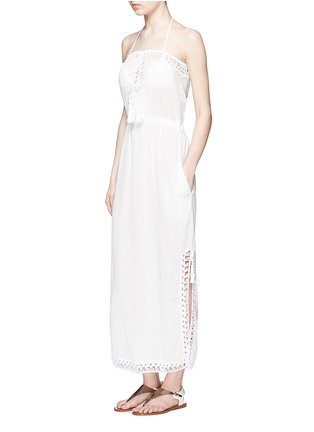 Figure View - Click To Enlarge - Anna Kosturova - 'Helena' crochet trim crinkle cotton maxi dress
