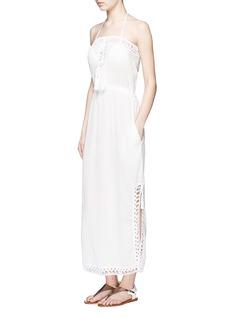 ANNA KOSTUROVA'Helena' crochet trim crinkle cotton maxi dress