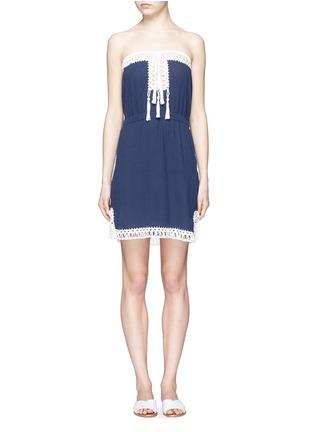 Main View - Click To Enlarge - Anna Kosturova - 'Helena' crochet trim crinkle cotton mini dress