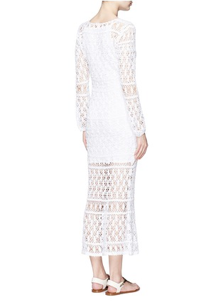 Back View - Click To Enlarge - Anna Kosturova - 'Bianca' lace-up front crochet knit dress