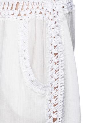 Detail View - Click To Enlarge - Anna Kosturova - 'Giza' crochet trim cotton drawstring harem pants