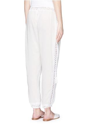 Back View - Click To Enlarge - Anna Kosturova - 'Giza' crochet trim cotton drawstring harem pants