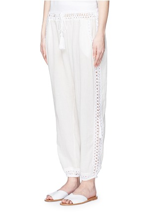 Front View - Click To Enlarge - Anna Kosturova - 'Giza' crochet trim cotton drawstring harem pants