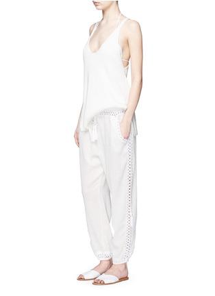 Figure View - Click To Enlarge - Anna Kosturova - 'Giza' crochet trim cotton drawstring harem pants