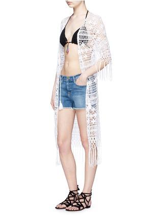 Figure View - Click To Enlarge - Anna Kosturova - Tassel crochet knit maxi kimono cover-up