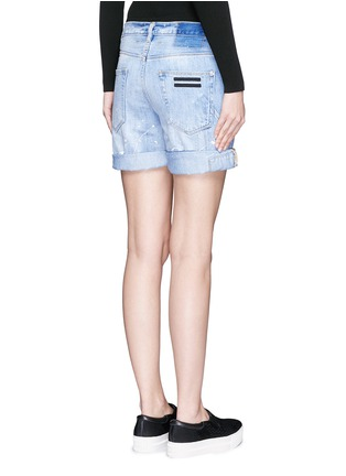 Back View - Click To Enlarge - COCURATA - Paint splatter rolled denim shorts