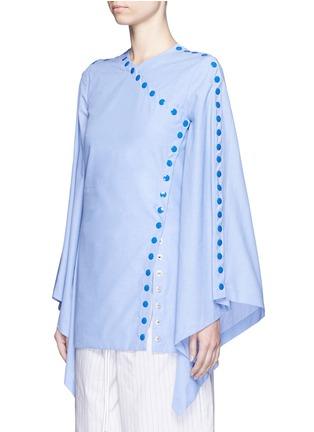 Front View - Click To Enlarge - Rosie Assoulin - 'She's Come Undone' snap button cotton tunic