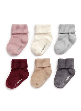 Main View - Click To Enlarge - ETIQUETTE CLOTHIERS - 'Basic Luxuries Girl' infant socks 6-pair set