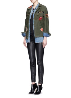 MADEWORN'Rolling Stones' one of a kind patch cotton jacket