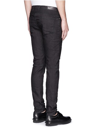 Back View - Click To Enlarge - Neil Barrett - Biker raw denim skinny jeans