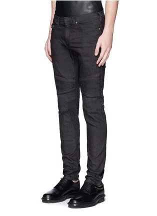 Front View - Click To Enlarge - Neil Barrett - Biker raw denim skinny jeans
