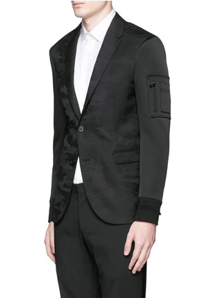 Front View - Click To Enlarge - Neil Barrett - Bomber sleeve camouflage jacquard blazer