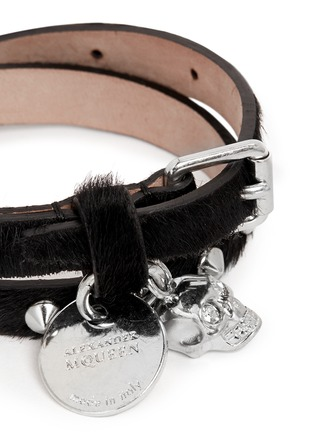 Detail View - Click To Enlarge - Alexander McQueen - Skull stud double wrap pony hair leather bracelet