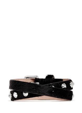 Back View - Click To Enlarge - Alexander McQueen - Skull stud double wrap pony hair leather bracelet