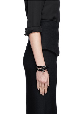 Figure View - Click To Enlarge - Alexander McQueen - Skull stud double wrap pony hair leather bracelet