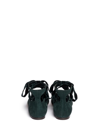 Back View - Click To Enlarge - Alexander McQueen - Velvet ribbon patent leather ballerina flats