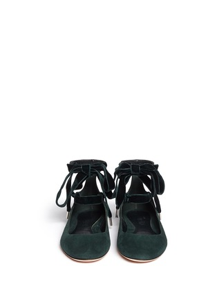 Figure View - Click To Enlarge - Alexander McQueen - Velvet ribbon patent leather ballerina flats