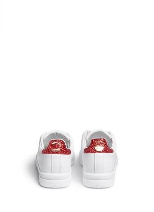 Back View - Click To Enlarge - Chiara Ferragni - 'Roger' glitter collar leather sneakers